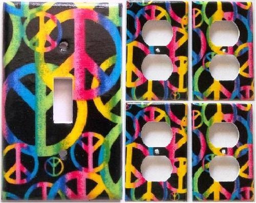 Peace Sign Bedroom Accessories: Peace Sign Pink Purple Yellow Light Switch Outlet Cover