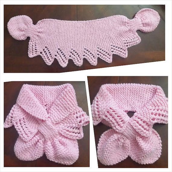 LACE NECK Hand Knit scarf /neck warmer for KIds or Adult Made with acrylic yarn. The scarf is very cute warm and nice Size: length: 28-29( 70 ~75 cm ) Neck : 17 ( with out stretch , Stretch up to 20) width: 8 (20 cm ) Hand wash in cold, lay flat to dry.