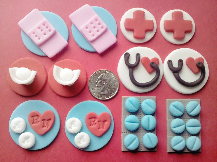 Mini Nurse, Edible Fondant Toppers for Miniature Cupcakes. $18.00, via Etsy.