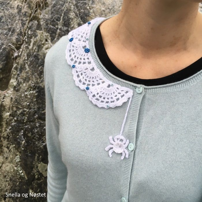 Crochet lace collar with spider