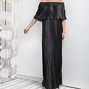Одежда ручной работы. Ярмарка Мастеров - ручная работа Черное сатиновое плиссированное длиннее макси платье, большие размеры. Handmade.
