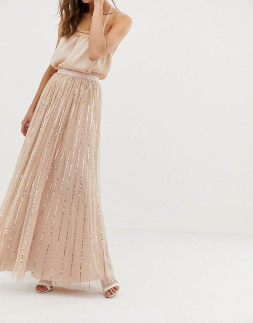 7cf20ff152 Needle & Thread shimmer sequin maxi skirt in rose in 2019 | ASOS ...