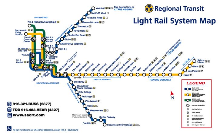 Sacramento Light Rail Map