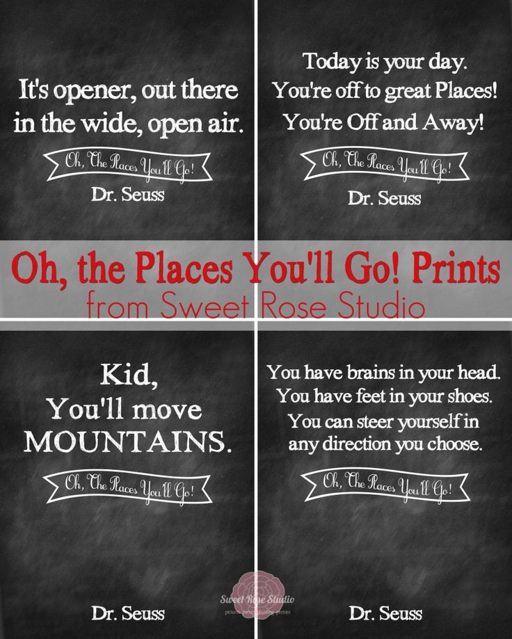Dr. Seuss' Oh the Places You'll Go Prints FREE :: perfect for Graduations!