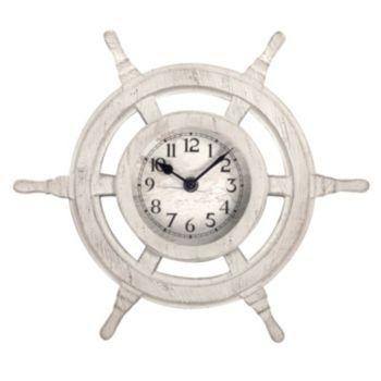Nautical+Ship's+Wheel+Wall+Clock