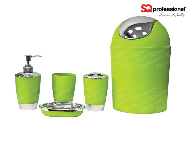 Bathroom accessory set 5pc - GREEN - You asked for more bathroom accessory sets and we listened - they're back! Now with new bold and exciting colours! This is a modern and contemporary bathroom set. These eye catching colours will bring character and life to any bathroom. The set comprises of: 3 L waste bin | Soap dish | Soap dispenser | Toothbrush holder | A rinse cup. These are going fast so catch them while you can! #bathroom #accessory #green #special #deal #sqprofessional