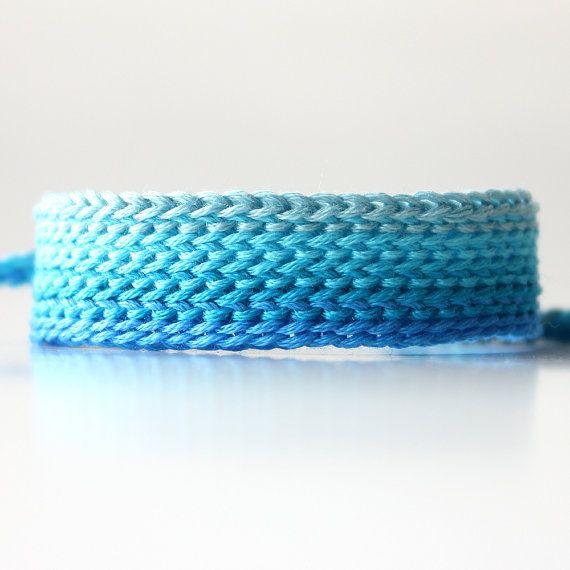 Ombre Bracelet, Blue Friendship Bracelet, Wide Friendship Bracelet