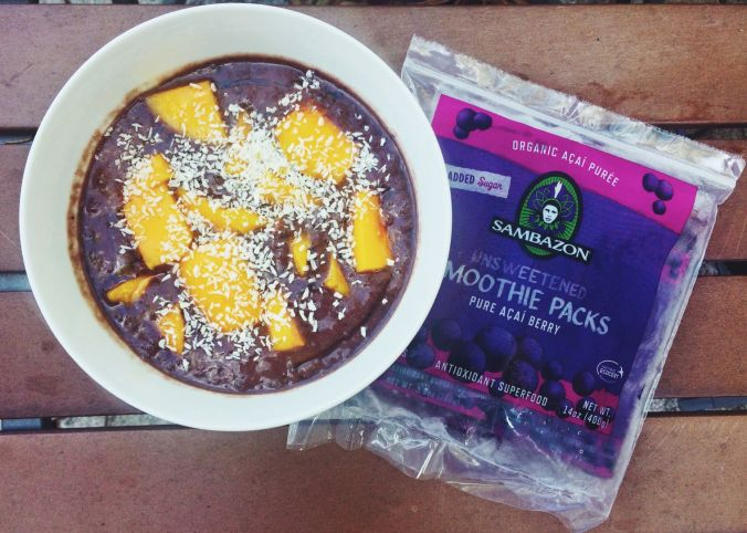 """""""I first found the Sambazon Acai Freeze Dried Powder, then I discovered the Sambazon Acai Smoothie Packs. While I would say they both have a similar flavor I like to use the Smoothie Packs more because they are individually separated and cold already, while the powder I have to mix overnight and have it cold for my morning breakfast."""" - @Beth Hannum"""