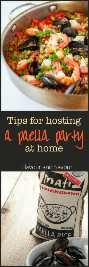 Tips for hosting a Paella Party in your kitchen. Tips for making paella, a traditional Spanish rice and seafood dish.