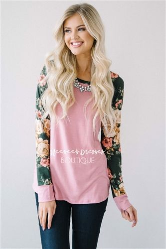 Pink & Olive Floral Sleeve Sweater