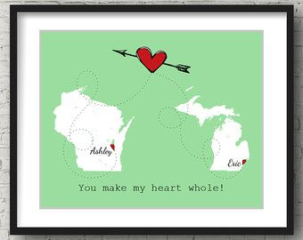 Long Distance Relationship Boyfriend Gift Long by PersonalizedMaps