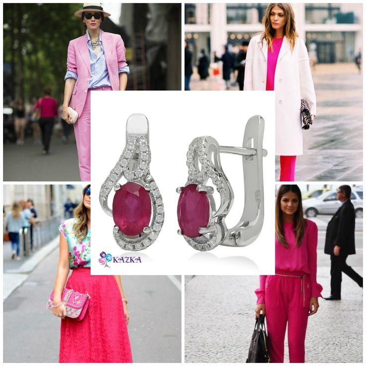 Красивые серьги из серебра с рубинами и фианитами станут прекрасным повседневным украшением. Розовый цвет очень женственный и подходит девушкам с любым типом внешности.   Купить за 1540 грн.  #kazkajewelry #розовыйцвет #серьги