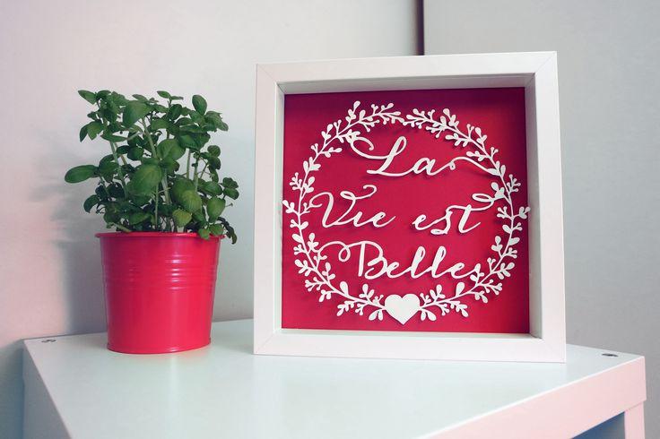 """Cadre La Vie est Belle 3D personnalisé - Papier découpé à la main encadré effet """"flottant"""" : Loisirs créatifs, scrapbooking par lovelypapeterie"""