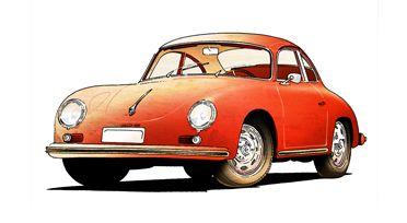 Little car ...#Porsche #356 #Carrera #tegnepeter #illustration #heydenreich