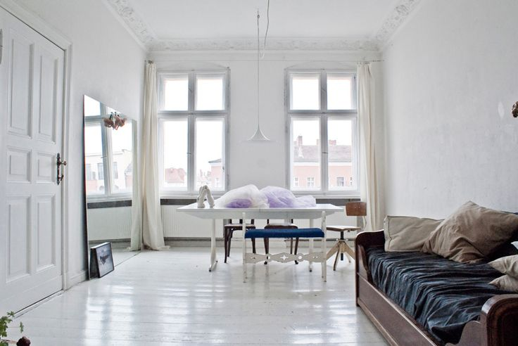 Rike-Doepp-by-Robert-Wunsch-1: Cherries Blossoms, Living Rooms, White Spaces, Favorite Places, Living Spaces, White Rooms, White Floors, White Interiors, Paintings Floors