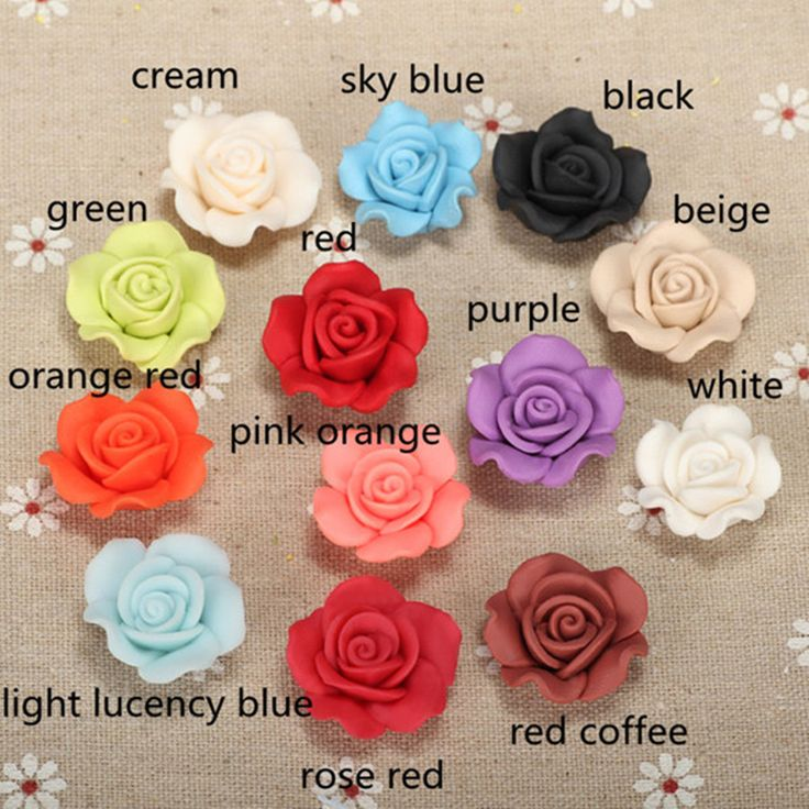 10pcs/lot Polymer Clay Fimo Rose Decoration Resin Flowers Curtain Beads 3d For Clothes Bags Footware Diy Necklace Crafts Jewelry-in Beads from Jewelry & Accessories on Aliexpress.com | Alibaba Group