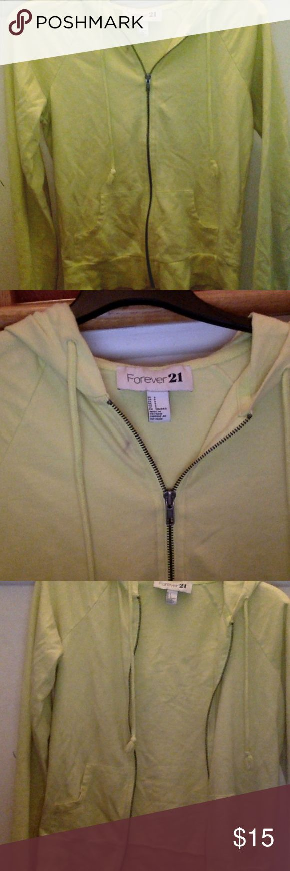 Womens Forever21 Cozy Yellow Zip Up Hoodie Previously Worn Forever21 Hoodie-Small In Good Condition  -will not trade -will not accept other offers Forever 21 Tops Sweatshirts & Hoodies