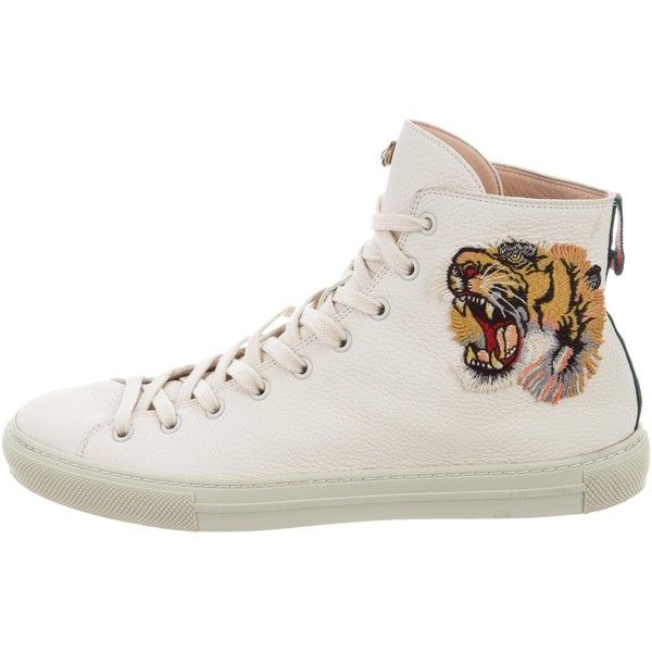 Pre-owned Gucci Major Tiger Leather Sneakers ($575) ❤ liked on Polyvore featuring men's fashion, men's shoes, men's sneakers, brown, mens hi top shoes, mens leather tie, mens brown leather shoes, mens ties and mens sneakers