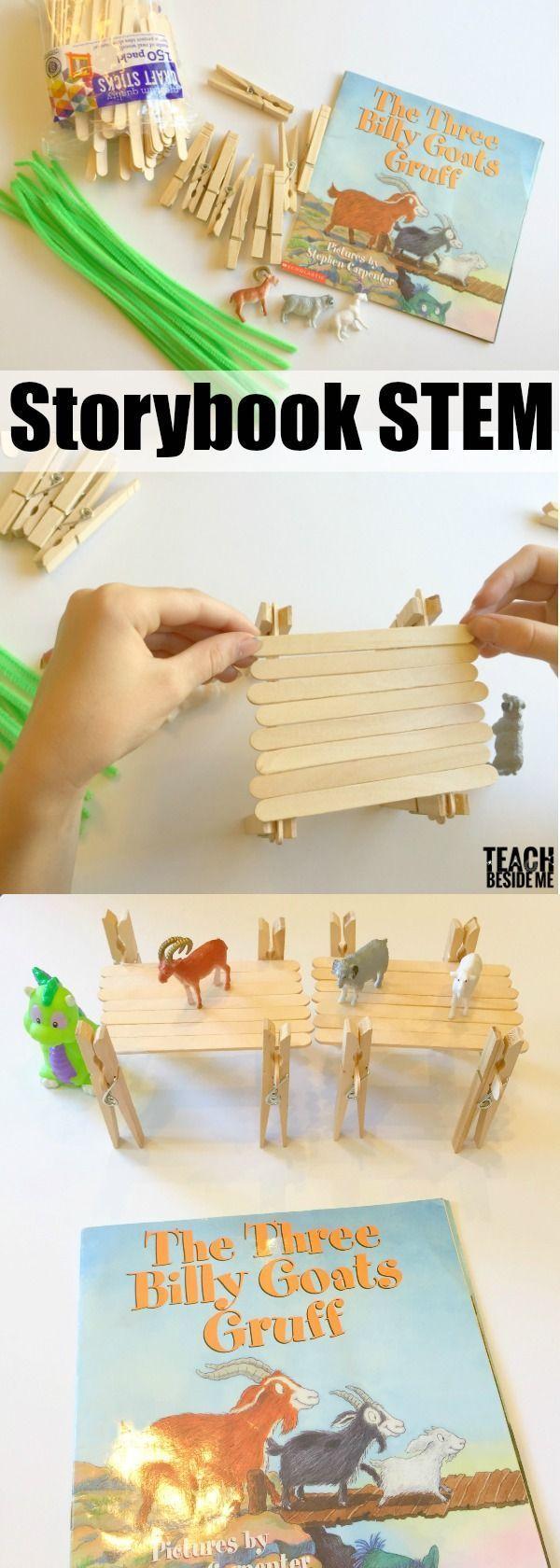 Three Billy Goats Gruff Storybook STEM- bridge building activity via @karyntripp