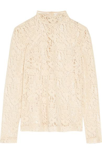 DKNY - Flocked Lace Top - Cream - US