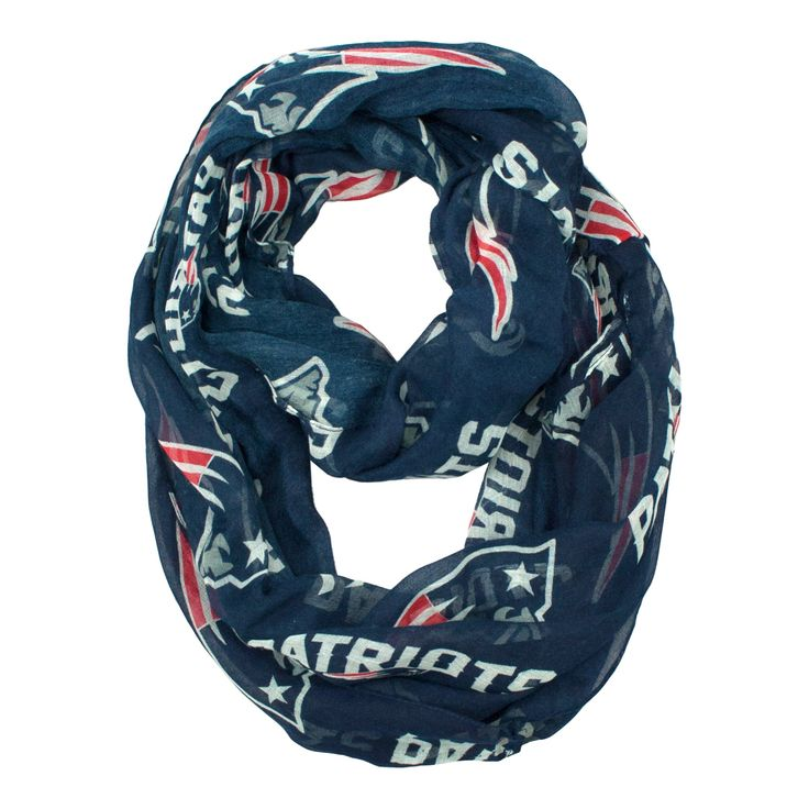 NFL New England Patriots Sheer Infinity Scarf, One Size, Blue