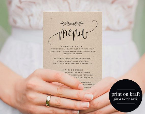 Wedding Menu Template Step Free Downloadable Diy Wedding Menus Etsy