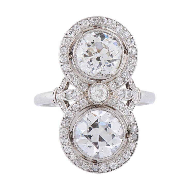 Diamond, de estilo eduardiano, Anillo, Dos Piedra