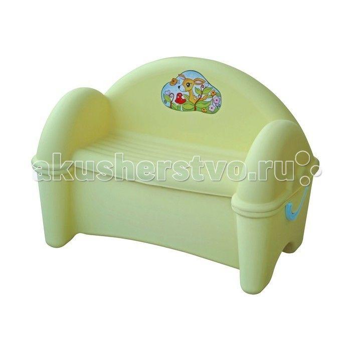 Palplay (Marian Plast) Диван-ящик  Диван с ящиком красиво впишется в Ваш интерьер, а игрушки найдут в нём своё место. Сделан из современных, нетоксичных материалов, с соблюдением европейского стандарта качества и безопасности для товаров для детей.  Характеристики:  Размеры: 77 х 47 х 55 см  Вес: 5 кг  Материал: пластик Рекомендуемый возраст для детей от 1 года