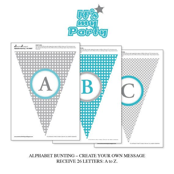 Create Free Printable Banners | Printable Bunting Flags or Banner - Alphabet & Numbers - Make You Own ...