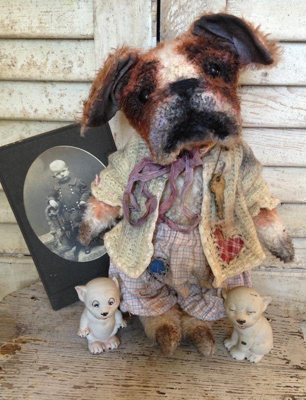 Brady Bears Studio...Antique style, old, mohair English Bulldog...teddy bear friend....One of a Kind...www.BradyBears.com...