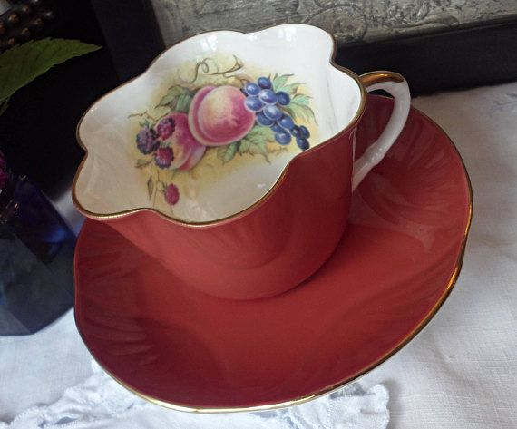 Crown Staffordshire Orange Teacup and Saucer Painted Fruit