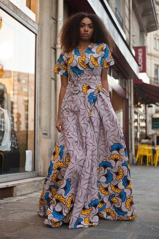 Robe Portefeuille Fleur de mariage beige , Robes longues robes maxi, beige,  maternité, grande taille et formes, look intégral wax, casual, wax, pour  elle,