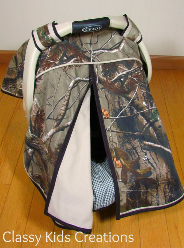 Realtree AP and Khaki Tan Baby Boy Car Seat Canopy / Baby Carseat Tent / Infant Car Seat Canopy Cover / My Baby Blind