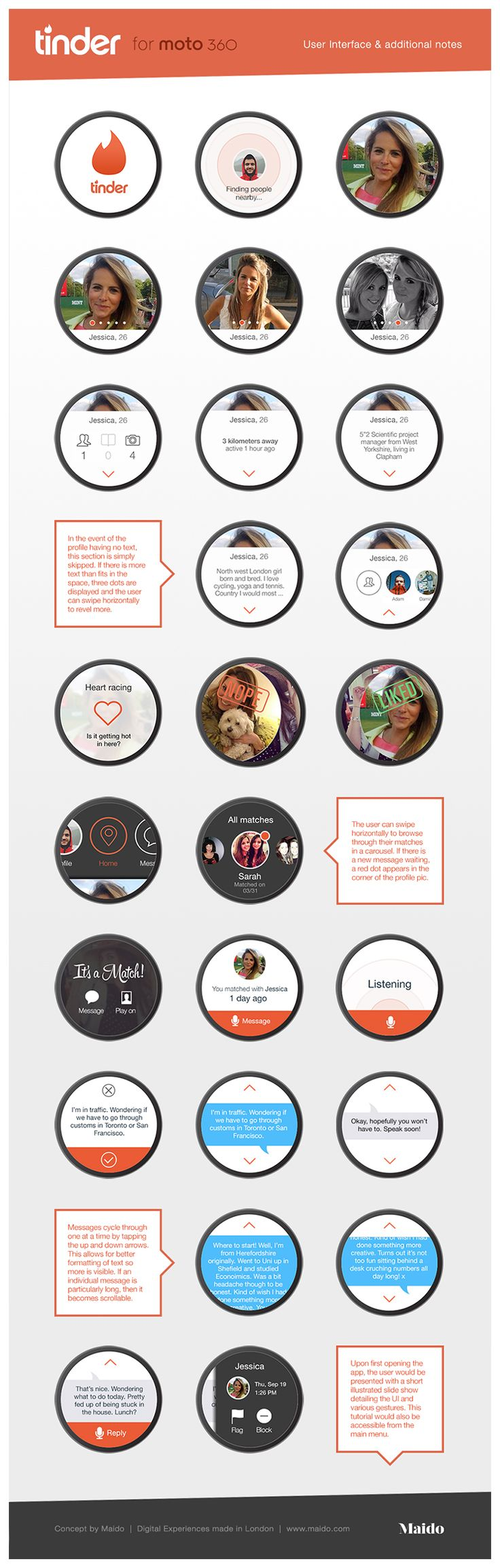 Tinder for Moto 360 concept User Interface and Notes
