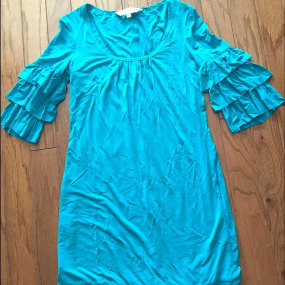 Teal Trina Turk Dress Trina Turk dress only worn once & in excellent condition! Super soft material & very flattering! Has ruffle detail sleeves- perfect for Easter or a wedding. Trina Turk Dresses