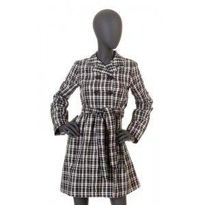 Sisley - płaszcz w czarno białą kratkę