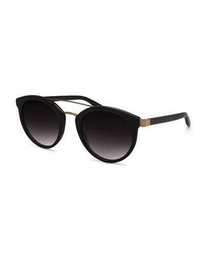 Barton Perreira Dalziel Universal-Fit Round Gradient Sunglasses, Black | #Chic Only #Glamour Always