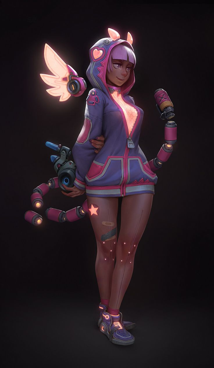 Cyber candy girl - Bloo, Gui Guimaraes on ArtStation at https://www.artstation.com/artwork/n11m6