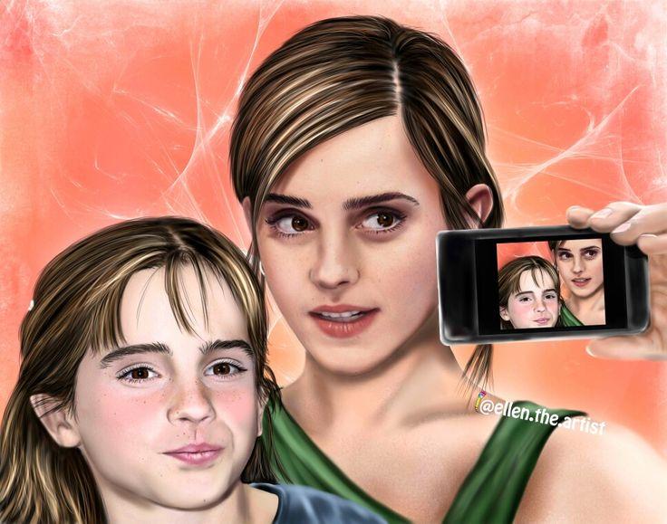 Selfie -past and present! Digital drawing.