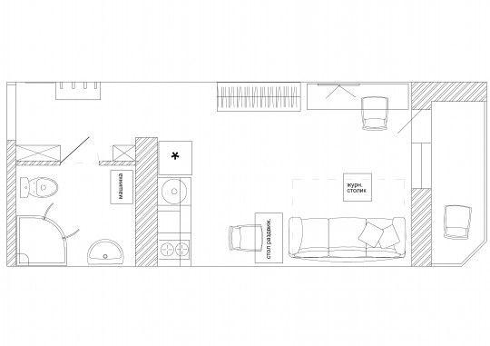 Узкая квартира студия 28 кв.м. | Идеи для ремонта