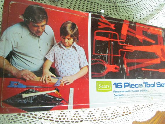 Sears Tin Tool Box Childrens 16 Piece Tool Set Box Dad and Me Garage Decor Daddys Helper Sears Craftsman   $21.00