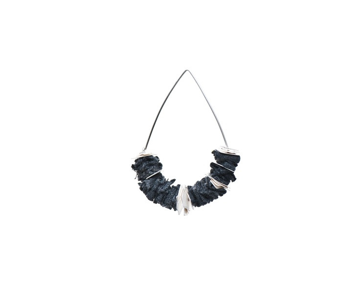 Earring by Ellie Mücke and Emma Grace (Sterling silver, reclaimed fabric)