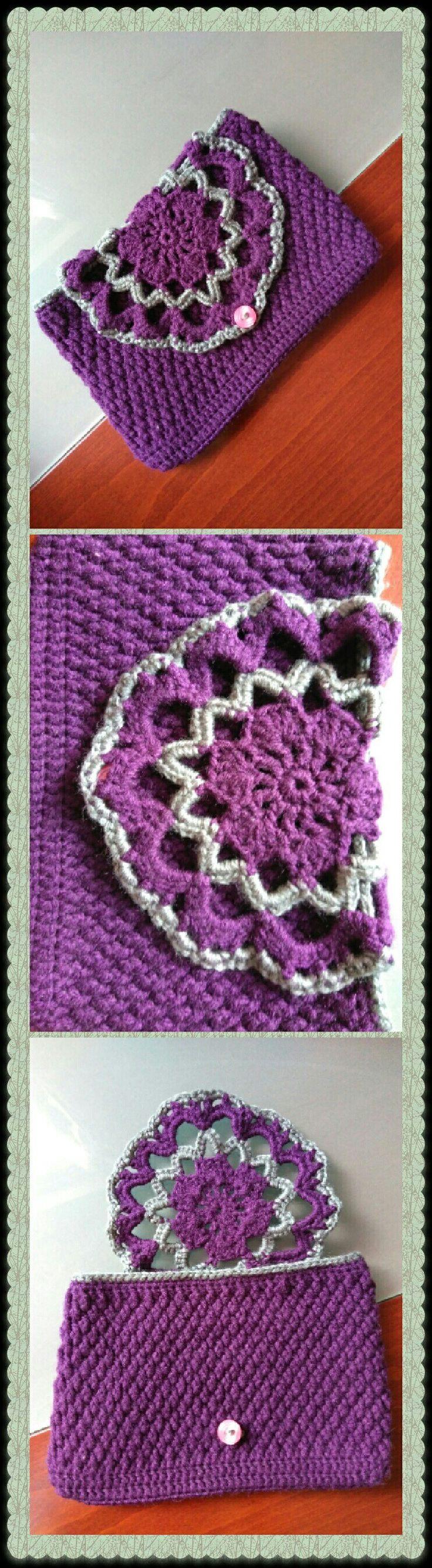 Θήκη tablet 7' μωβ γκρι #crochet #handmade #creations #hook #purple #gray #case #tabletcase #mywork #metaxerakiamou #neraidodhmiourgies