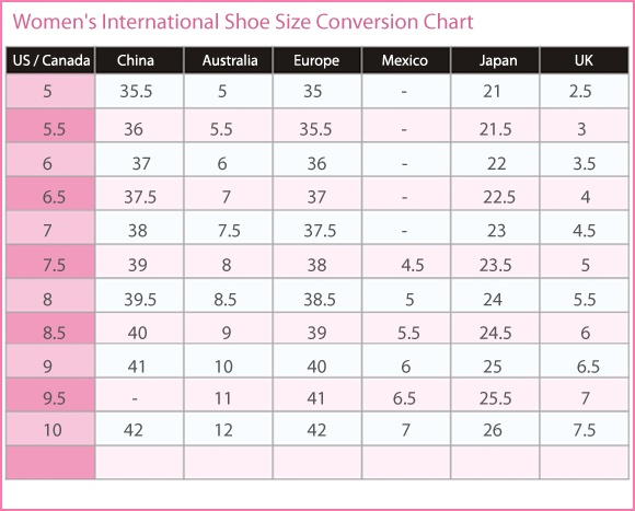Women S International Shoe Size Conversion Chart U Canada Australia Europe Mexico An K Shoes In 2019 Boots