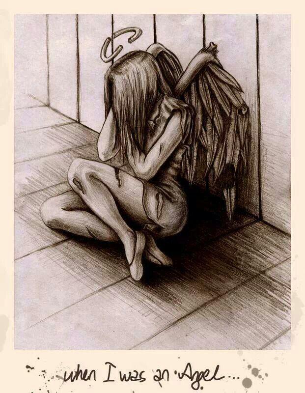 девушкой грустный ангел картинки карандашом первый взгляд