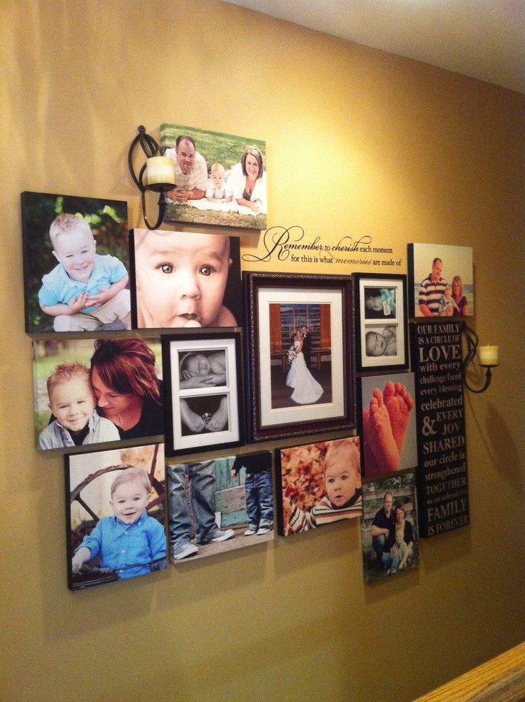 Photo wall using canvas pictures