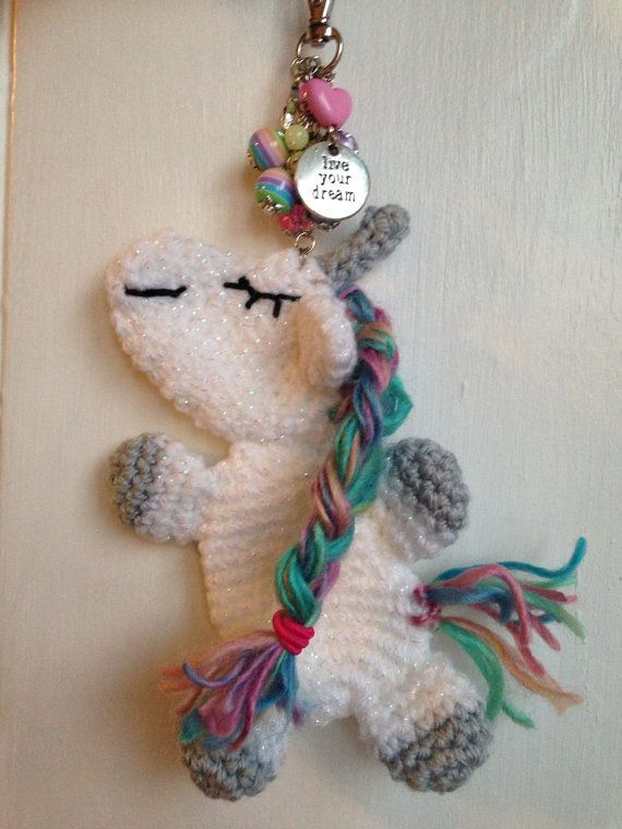 Crochet unicorn keyring unicorn bag charm by DollyDaydreamCrochet