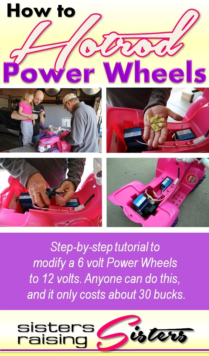 Hands-on Homeschool: How to Hotrod a Power Wheel - Super easy step-by-step tutorial on modifying a 6 volt Power Wheels to 12 volts. Anyone can do this... so easy. And you kids will love it. Adds new life to a boring old toy for about 30 bucks.
