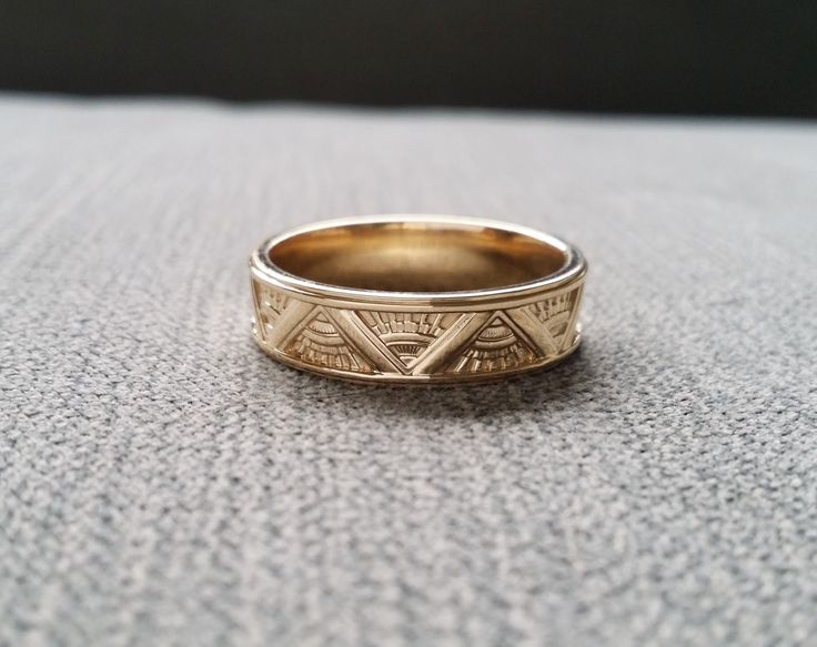 art deco mens wedding band ring pattern antique unique egyptian geometric 14k gold the emmerson - Egyptian Wedding Rings