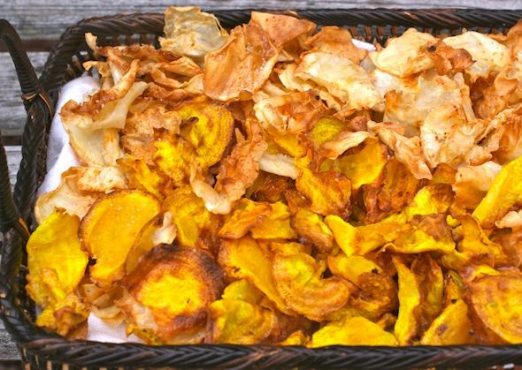 Homemade veggie chips.  It's almost an oxymoron to say healthy chips, but wait until you see what these chips are made from and how they are cooked.